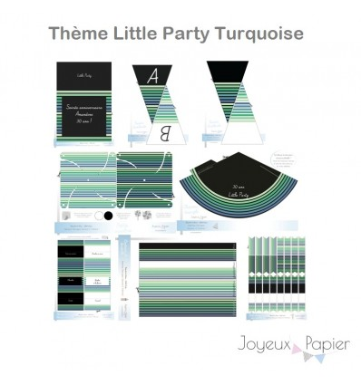 Little Party Turquoise kit décoration de fête