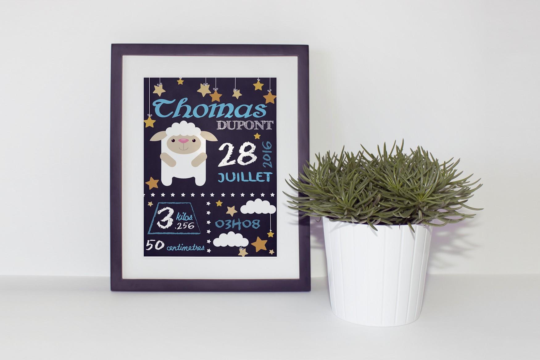 Affiche personnalisée naissance  imprimer mouton