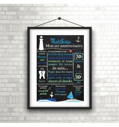 Affiche chalkboard 1er anniversaire