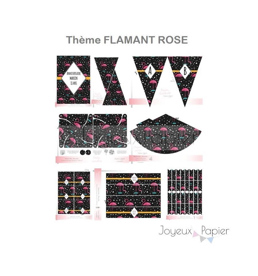 Kit imprimer th me flamant rose f te d 39 anniversaire - Decoration flamant rose ...