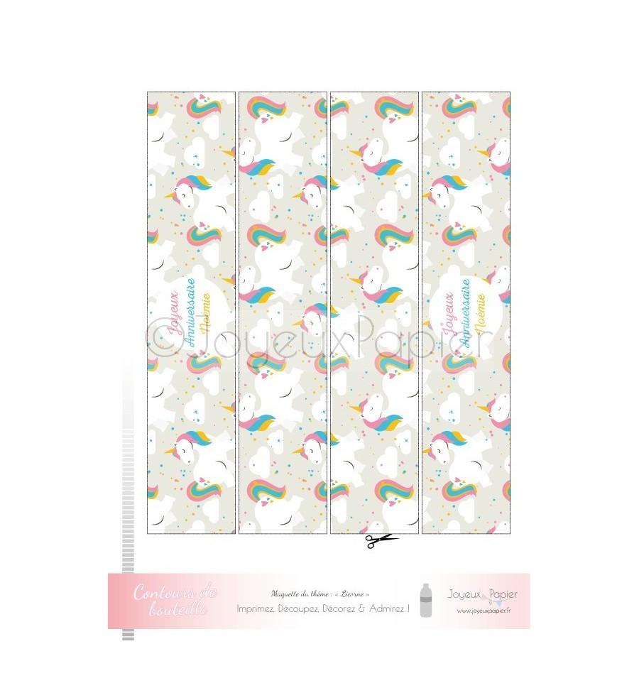 Kit imprimer th me licorne f te d 39 anniversaire fille for Decoration licorne chambre