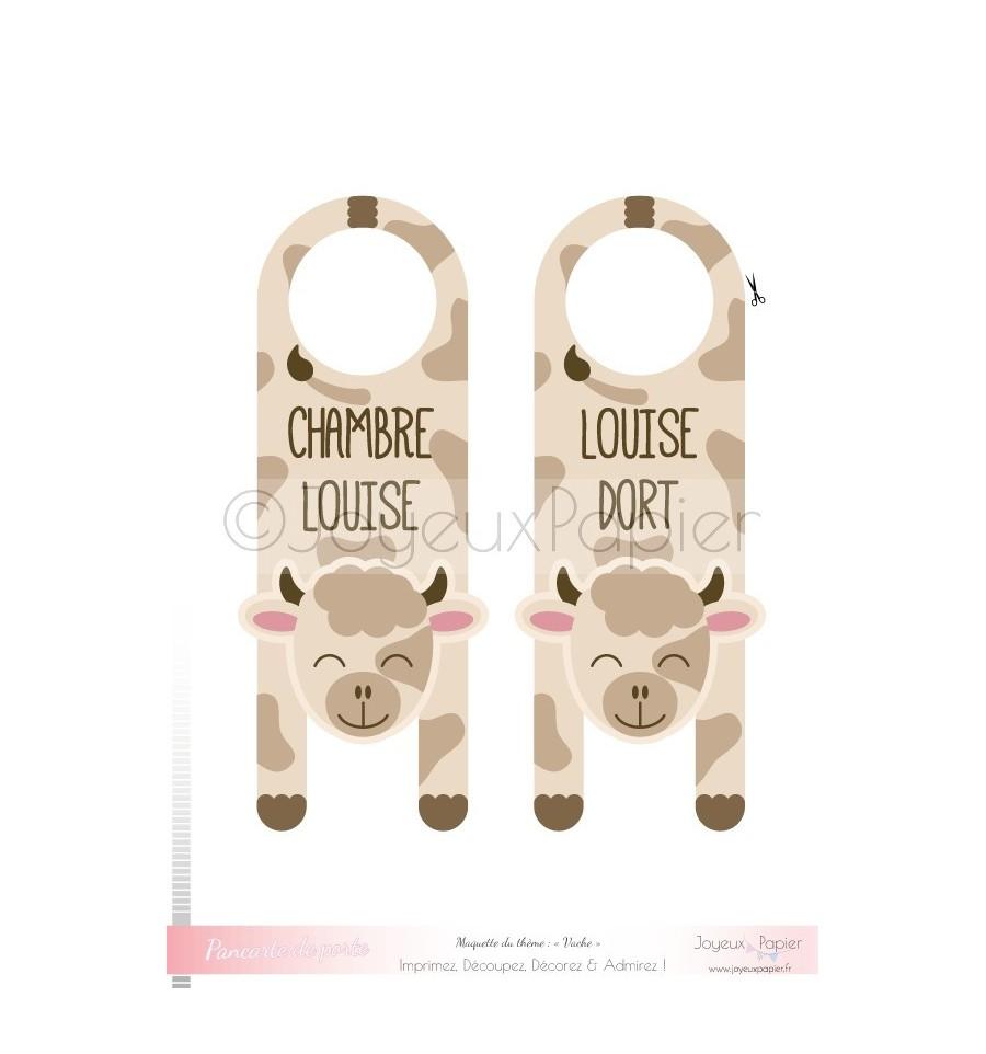 pancarte de porte personnalis e imprimer vache chambre b b. Black Bedroom Furniture Sets. Home Design Ideas