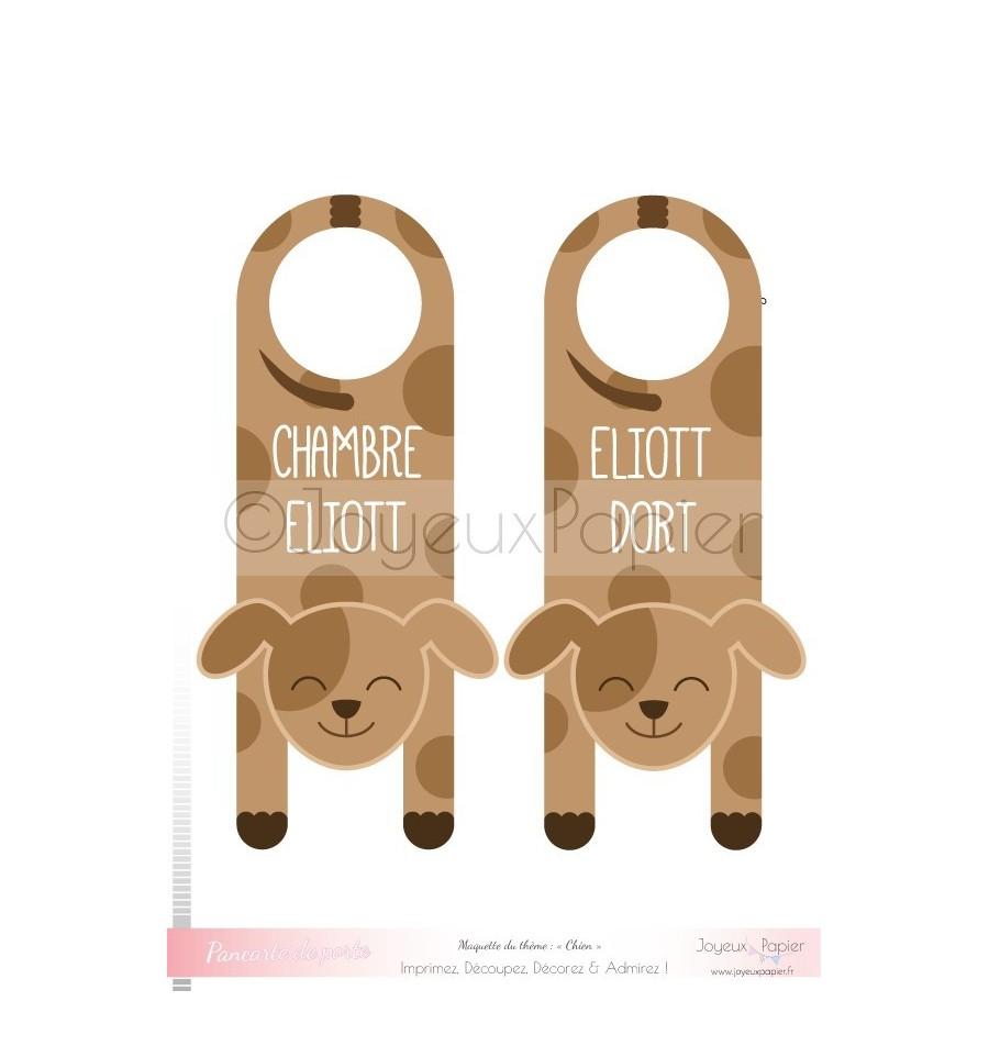 pancarte de porte personnalis e imprimer chien chambre b b. Black Bedroom Furniture Sets. Home Design Ideas