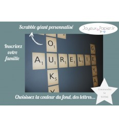 scrabble famille d co personnalis et carte lettre pr nom joyeux papier. Black Bedroom Furniture Sets. Home Design Ideas