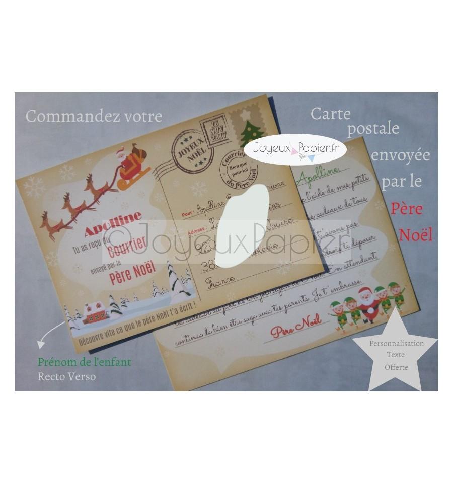 Lettre Au Pere Noel Personnalise.Carte Personnalisee Reponse Du Pere Noel