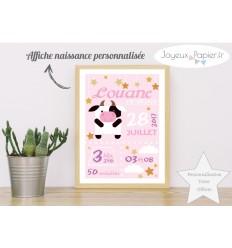 Affiche naissance fille vache rose
