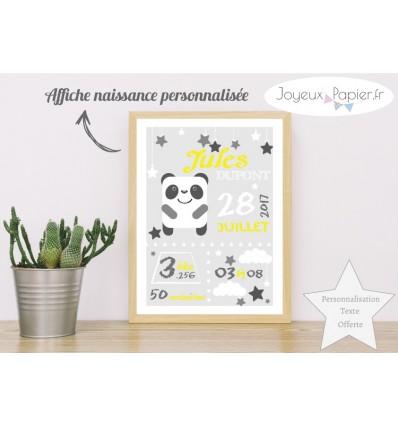 Affiche naissance panda gris jaune