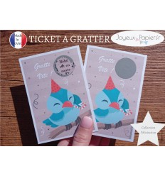 Ticket mini carte à gratter annonce grossesse oiseau bébé est en route