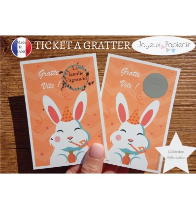 Ticket mini carte à gratter annonce grossesse la famille va s'agrandir
