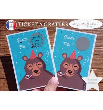 Ticket mini carte à gratter annonce grossesse père noël tu vas être papy