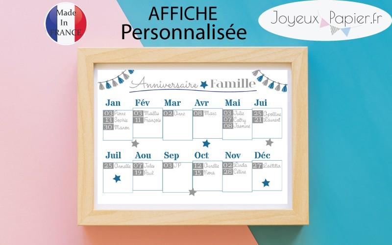 Très Affiche anniversaire famille personnalisée calendrier date importante VB26