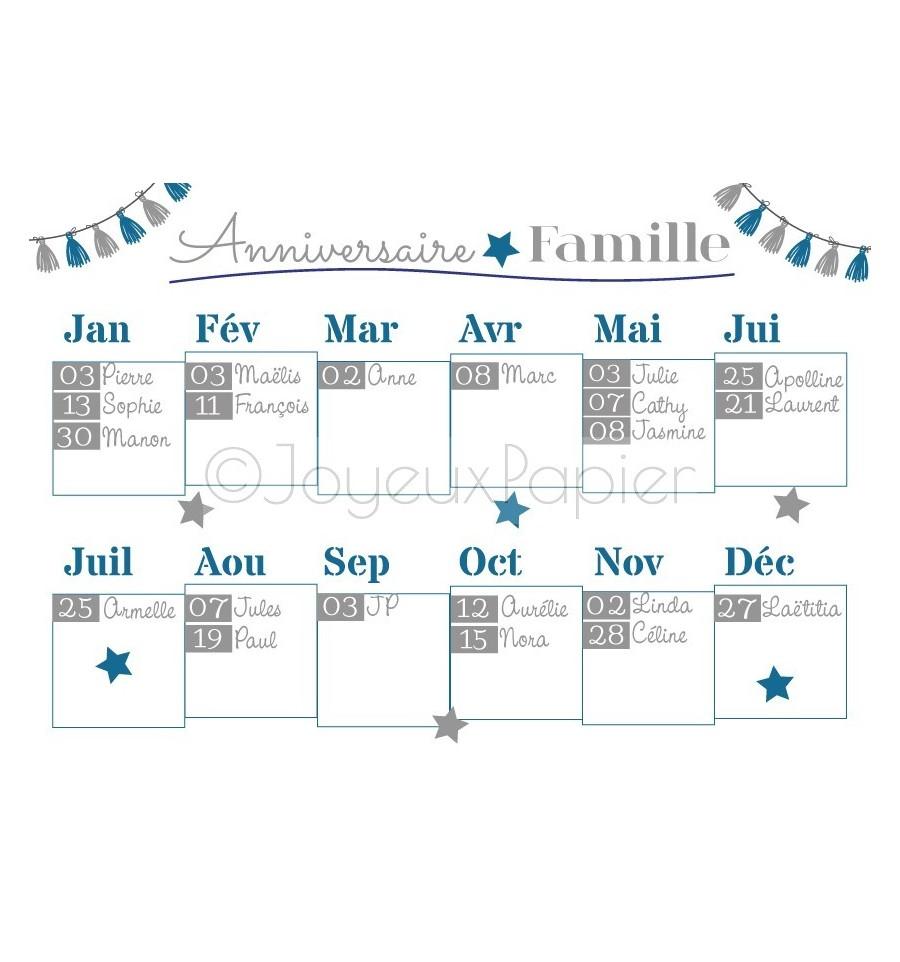 affiche anniversaire famille personnalis e calendrier date importante. Black Bedroom Furniture Sets. Home Design Ideas