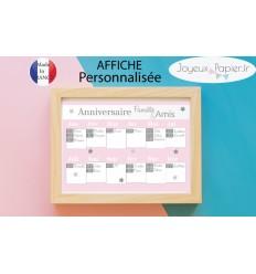 Affiche dates d'anniversaire famille amis