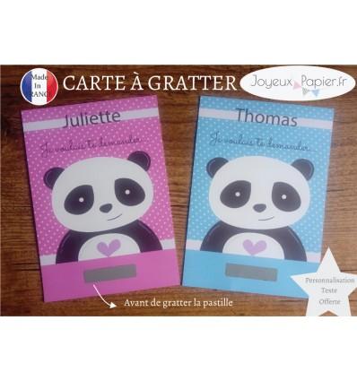 Carte à gratter parrain marraine panda