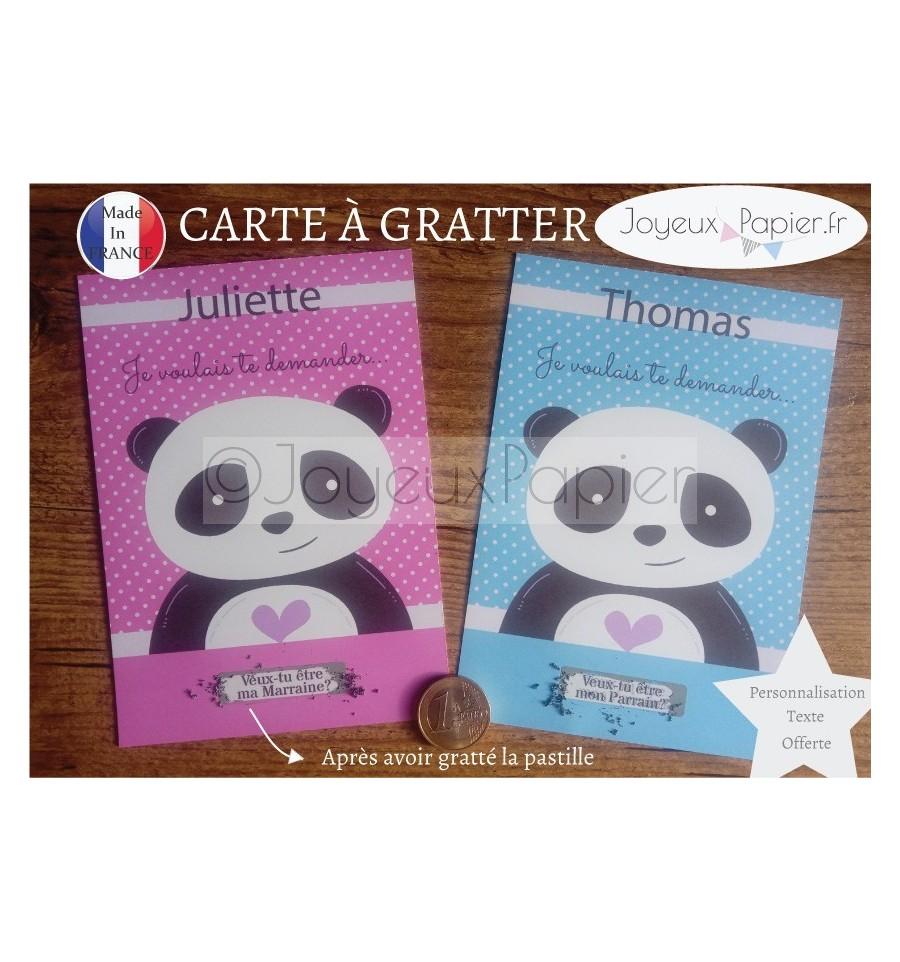 Veux Tu Etre Ma Marraine Texte 3€ jolie carte à gratter demande parrain marraine panda rose ou bleu