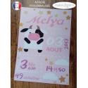 Affiche naissance garçon vache rose