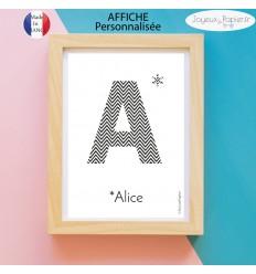 Affiche poster personnalisable initiale et prénom