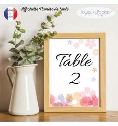 Affichette numéro de table personnalisée