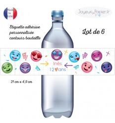 Etiquette adhésive personnalisée contours de bouteille émoji