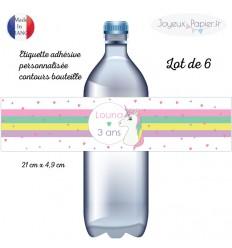 Etiquette adhésive personnalisée contours de bouteille licorne