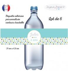 Etiquette bouteille personnalisée pois bleu anis gris