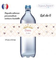 Etiquette bouteille personnalisée princesse