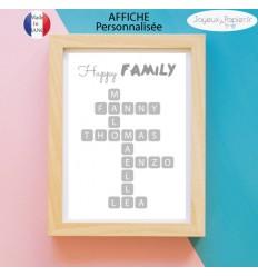 Affiche scrabble famille modèle happy family
