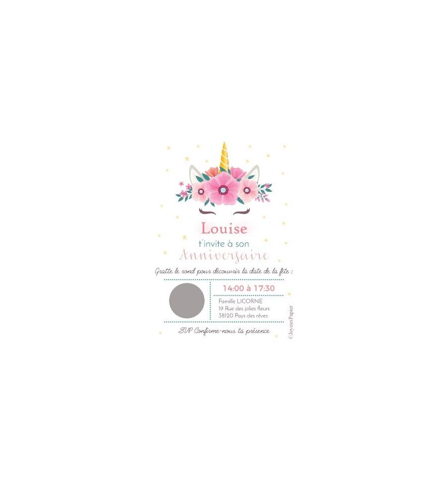 Carte à Gratter Invitation Danniversaire Thème Licorne Fille