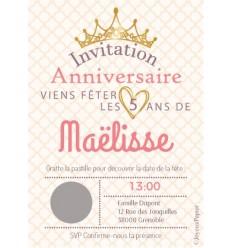 Carte à gratter invitation anniversaire princesse