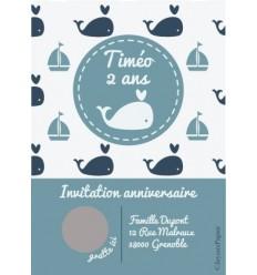 Carte à gratter invitation anniversaire baleine
