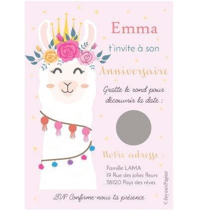 carte a gratter anniversaire lama invitation fille. Black Bedroom Furniture Sets. Home Design Ideas