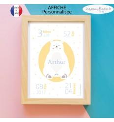 Affiche naissance garçon ours polaire